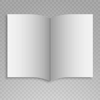 Magazine ouvert avec des pages blanches sur transparent