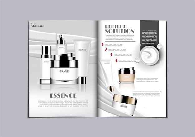 Magazine de soins de la peau mis sur la gauche et la crème
