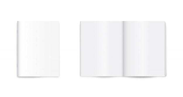 Magazine vierge, journal, journal, maquette de cahier sur fond blanc.