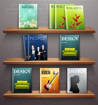 Magazines sur étagères