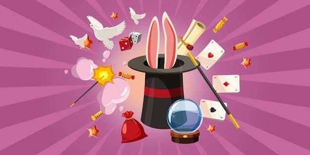 Magician rabbit background horizontal, style de bande dessinée