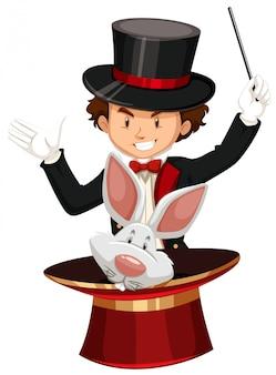 Magicien avec chapeau magique et baguette