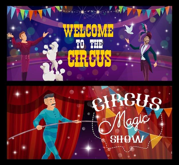 Magicien de cirque shapito, entraîneur et marcheur sur corde