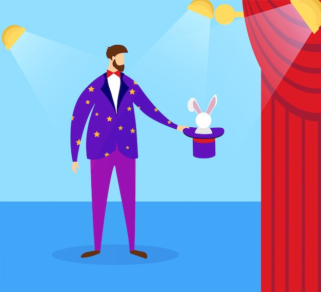 Magicien en costume tenant haut-de-forme avec lapin.