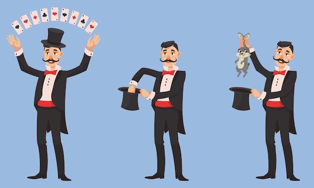 Magicien dans différentes poses. personne de sexe masculin avec une longue moustache en style cartoon.