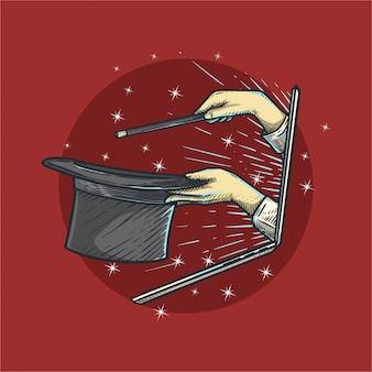 Magicien en émission en ligne. style vintage dessiné à la main