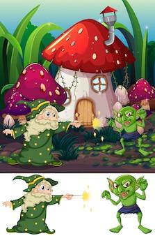 Magicien et gobelin dans la nature