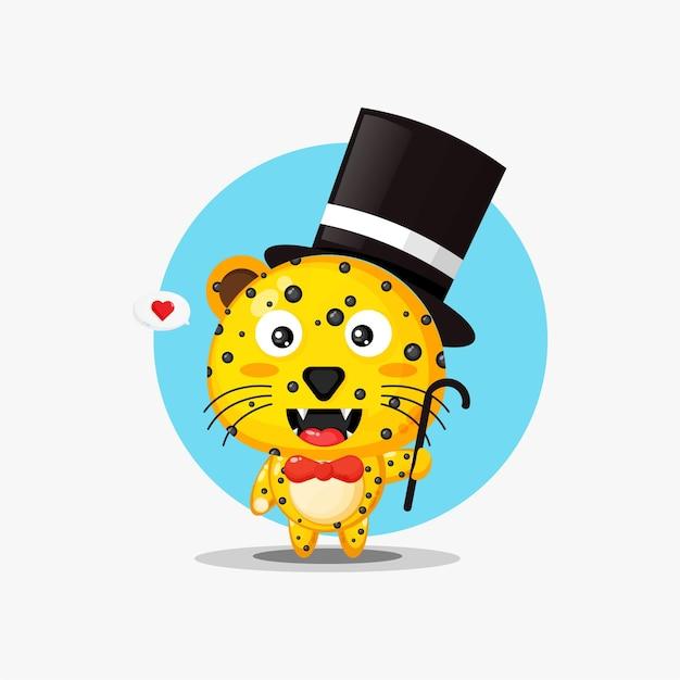 Magicien mascotte léopard mignon