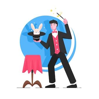 Magicien sur scène illustration plate