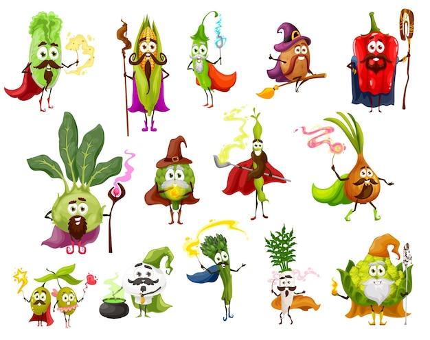 Magicien végétal, sorcière, sorcier et personnages de fées. poivron, oignon, daïkon et haricots, olive, champignon, asperges et maïs, chou chinois et chou-fleur romanesco avec baguettes magiques