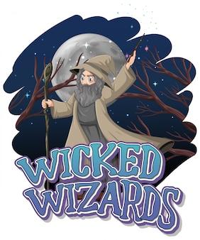 Magiciens méchants sur fond de nuit