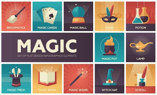 Magie et conte de fées - ensemble d'icônes et d'éléments de conception de lignes vectorielles modernes. symboles de couleur dégradée de baguette, potion, tour, chapeau de sorcière, manche à balai, masque, lampe, cartes, pot, parchemin, livre