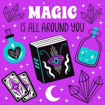 La magie est tout autour de vous affiche avec symboles mystiques de sorcière, lune, ensemble de cristaux.