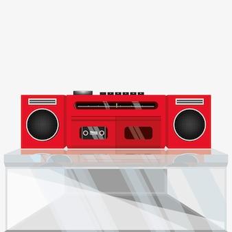 Magnétophone stéréo rétro, lecteur de cassette