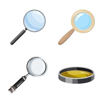Magnifier ensemble de verre. ensemble de dessins de verre magnifier