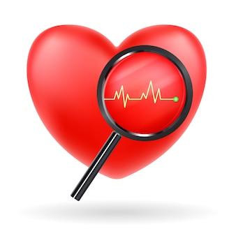 Magnifier verre balayage vecteur de battement de coeur rouge
