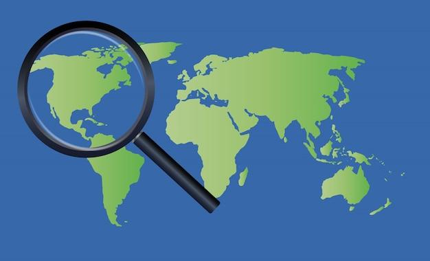 Magnifier le verre sur une carte du monde