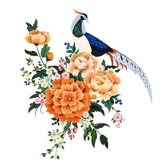 Magnifique bouquet de pivoines, sakura, pum en fleurs et faisan diamant à la chinoise