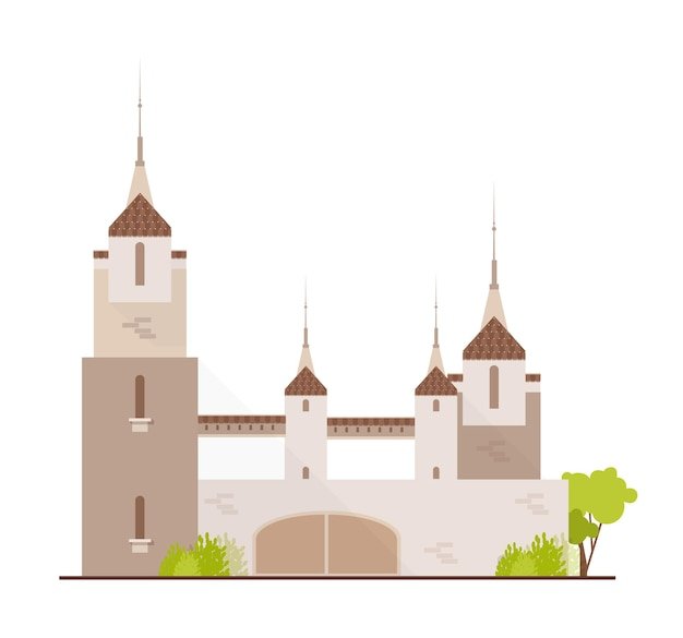Magnifique château médiéval, forteresse de conte de fées, fantastique citadelle ou forteresse isolée sur blanc