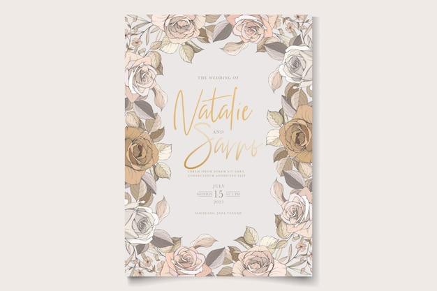 Magnifique ensemble de cartes d'invitation de mariage roses et lys dessinés à la main