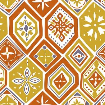 Magnifique modèle sans couture avec carreaux orange, ornements. peut être utilisé pour le papier peint, les motifs de remplissage, l'arrière-plan de la page web, les textures de surface.