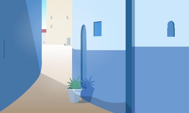 Magnifique paysage urbain avec rue marocaine avec murs de construction