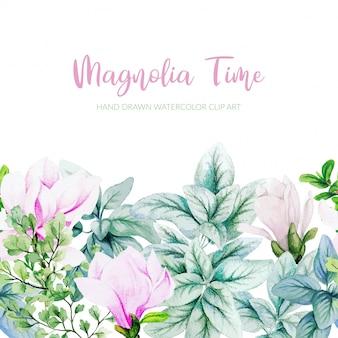 Magnolia aquarelle, feuilles d'argent et feuilles de monstera bordure transparente, pied de page