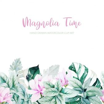Magnolia aquarelle, feuilles d'argent et fond de feuilles de monstera