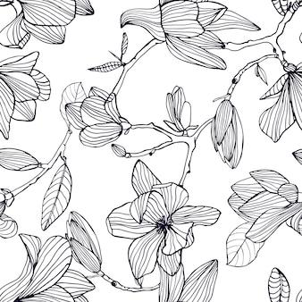 Magnolia à fleurs. modèle sans couture noir et blanc dessiné à la main avec des fleurs épanouies. fond d'écran.