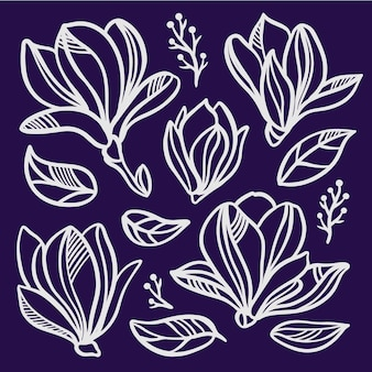 Magnolia set floral openworks of flowers monochrome silhouettes of white flowers and leaves on dark blue background sketch clipart vector illustration collection
