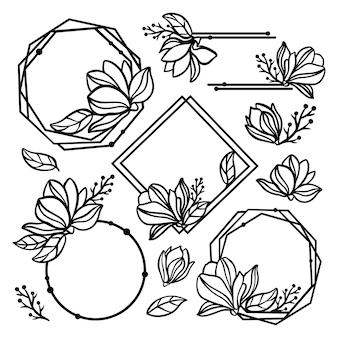 Magnolia wreath set floral monochrome collection avec bague de fleurs et cadres de fleurs couronnes et bouquets pour imprimer dessin animé cliparts illustrations vectorielles