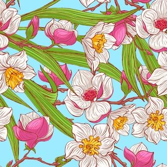 Magnolias de couleur et narcisse