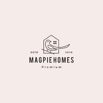 Magpie homes house logo icône illustration vectorielle