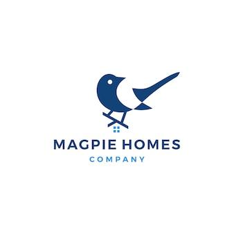 Magpie homes house logo icône illustration vectorielle