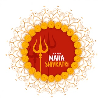Maha shivratri festival saluant avec le symbole trishul