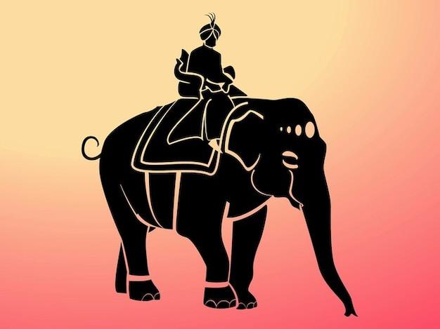 Maharaja éléphant silhouette vecteur décorations