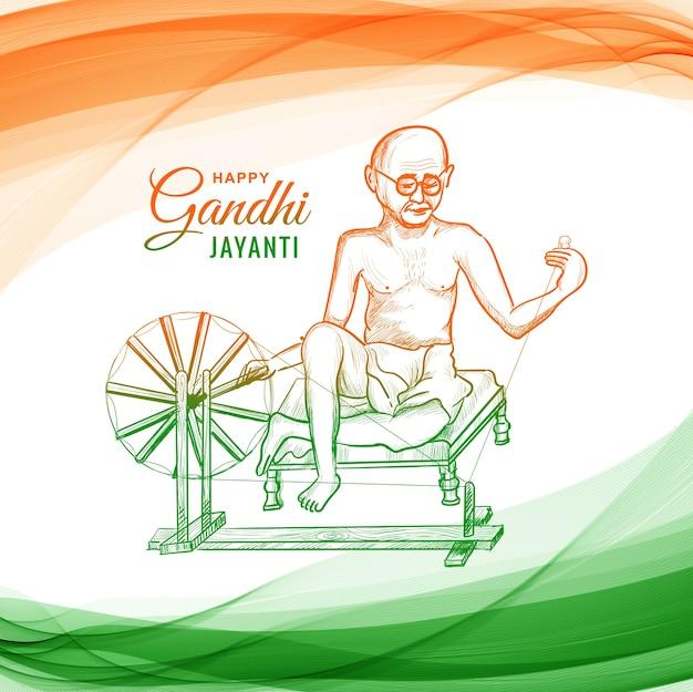 Mahatma gandhi pour gandhi jayanti sur la vague
