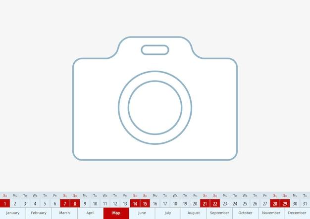 Mai 2022 pour le calendrier de bureau. modèle vectoriel.