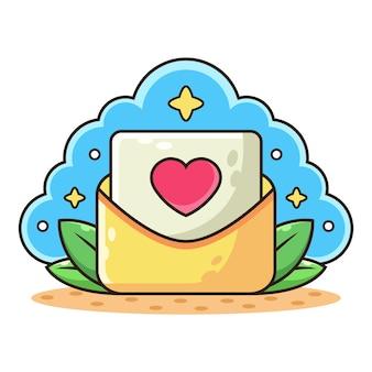 Mail avec lettre d'amour.