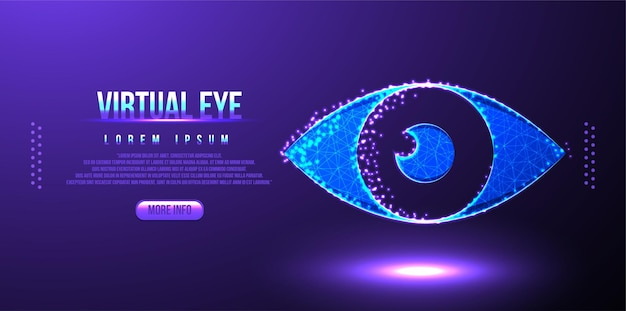 Maillage filaire digital eye low poly
