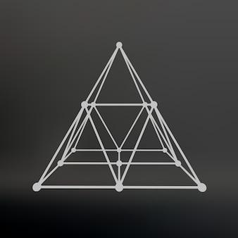 Maillage filaire pyramide polygonale pyramide des lignes de points connectés réseau atomique