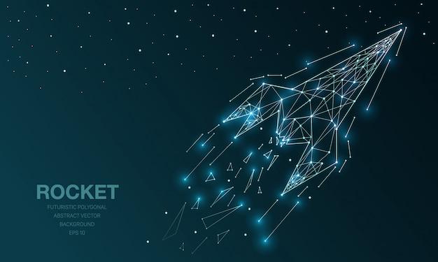 Maille polygonale filaire futuriste avec fusée