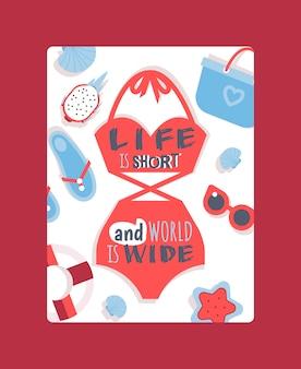Maillot de bain femme rouge avec citation inspirante. la vie est courte et le monde est vaste.