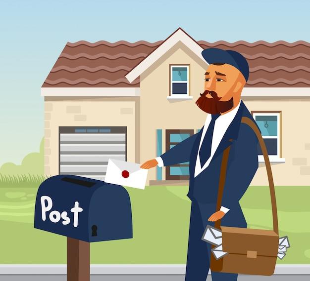 Mailman mettant une lettre dans une boîte aux lettres
