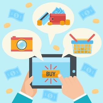 Main d'affaires faisant un achat internet