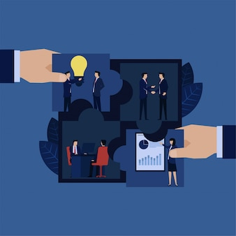 Main d'affaires mis en place des éléments de puzzle d'idée de processus d'entreprise, poignée de main, consultation et présentation.