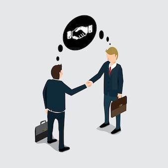 La main d'affaires secoue pour le succès
