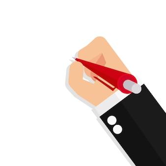 Main d'affaires tient un stylo