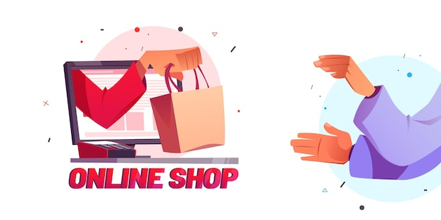 La main d'affiche de dessin animé de boutique en ligne donne un sac à provisions
