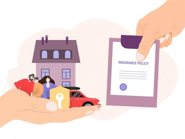 La main de l'agent détient une police d'assurance, la couverture de l'argent concept économiser sur blanc, illustration famille de caractère de personnes.